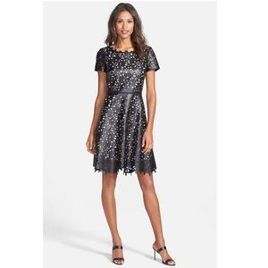 Laser Cut Faux Leather Fit and Flare Dress